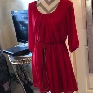 Red long sleeve chiffon dress with gold belt